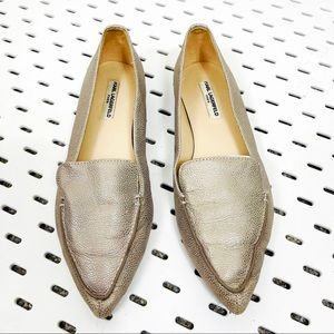KARL LAGERFELD Destine Gold Leather Pointed Toe Loafers Flats - 6.5